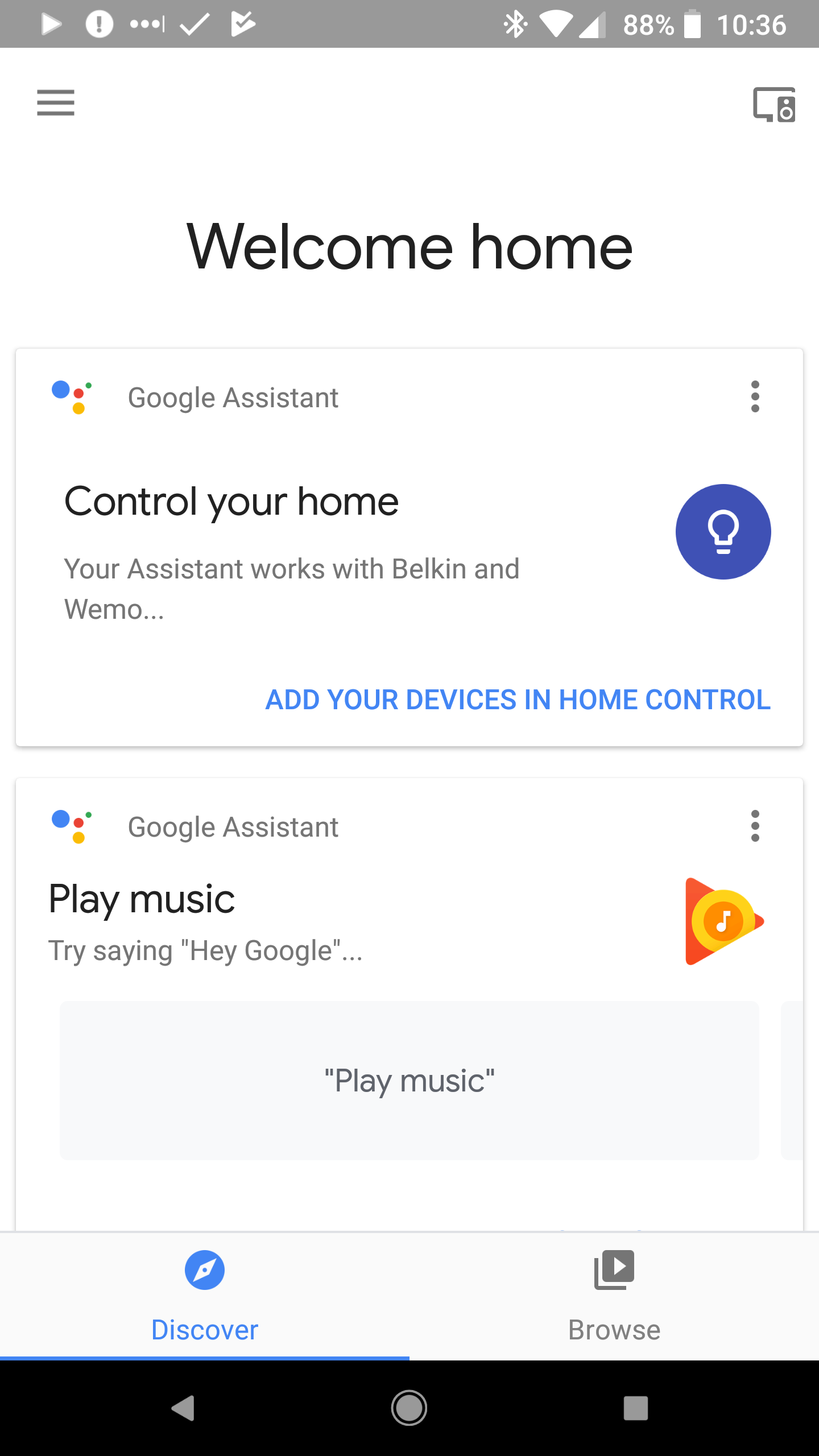 Google Home App Screenshot