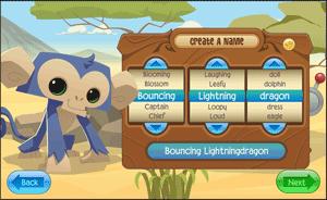 animal jam character name setup Screenshot