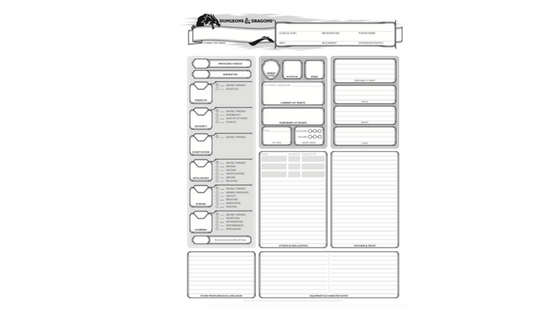 Dungeons and Dragons 5th Edition Character Sheets Screenshot