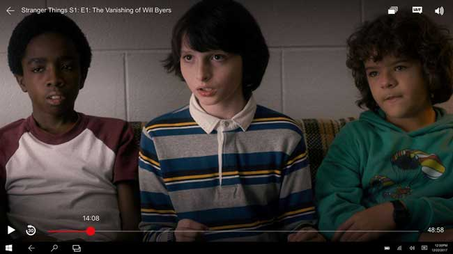 A screenshot from the Netflix app showing an image of the Netflix Original Series; Stranger Things. Screenshot