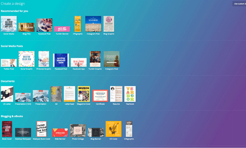 Canva is a graphic-design tool website, founded in 2012. Screenshot